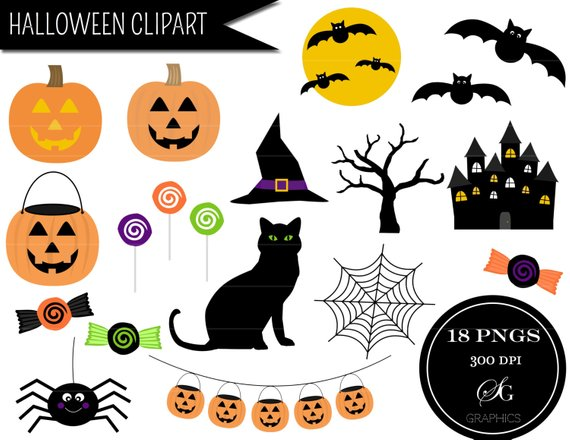 Halloween party clipart set: \