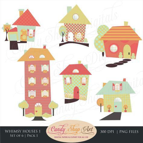Whimsical Houses Clipart, Houses Clip Art, Fun House.