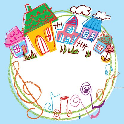 Illustration in a fun house Clipart Image.