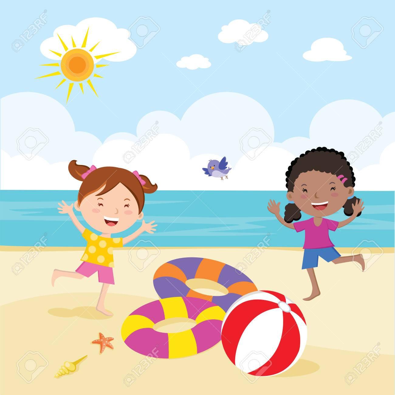 Girl fun in the sun. Little girls having fun on the beautiful...