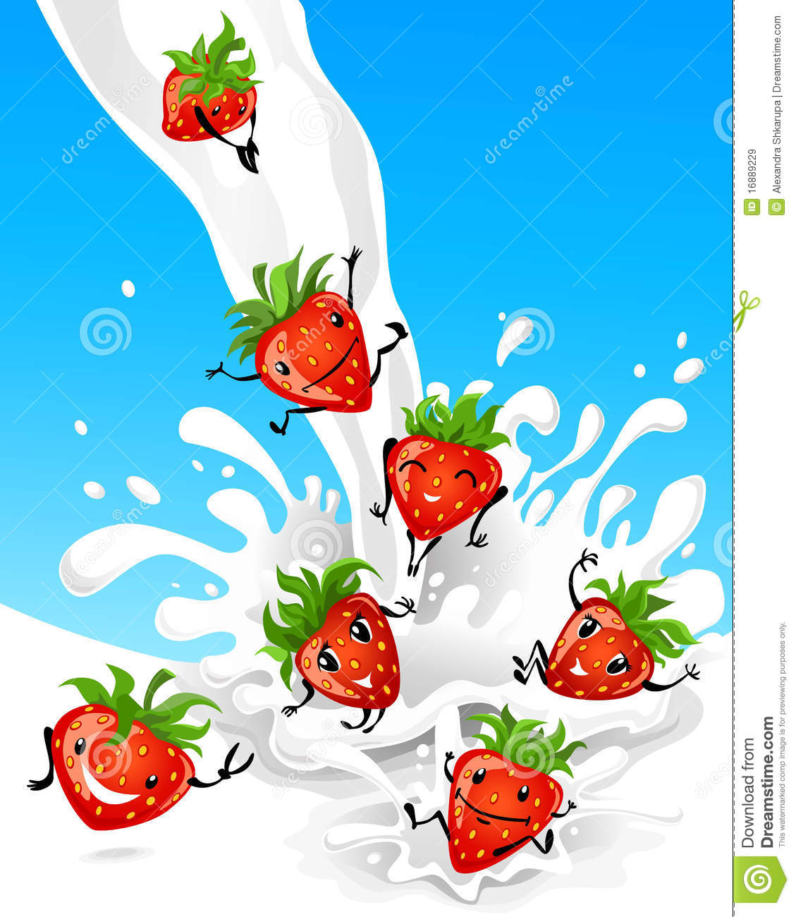 Strawberry Having Fun In Milk Royalty Free Stock Images.