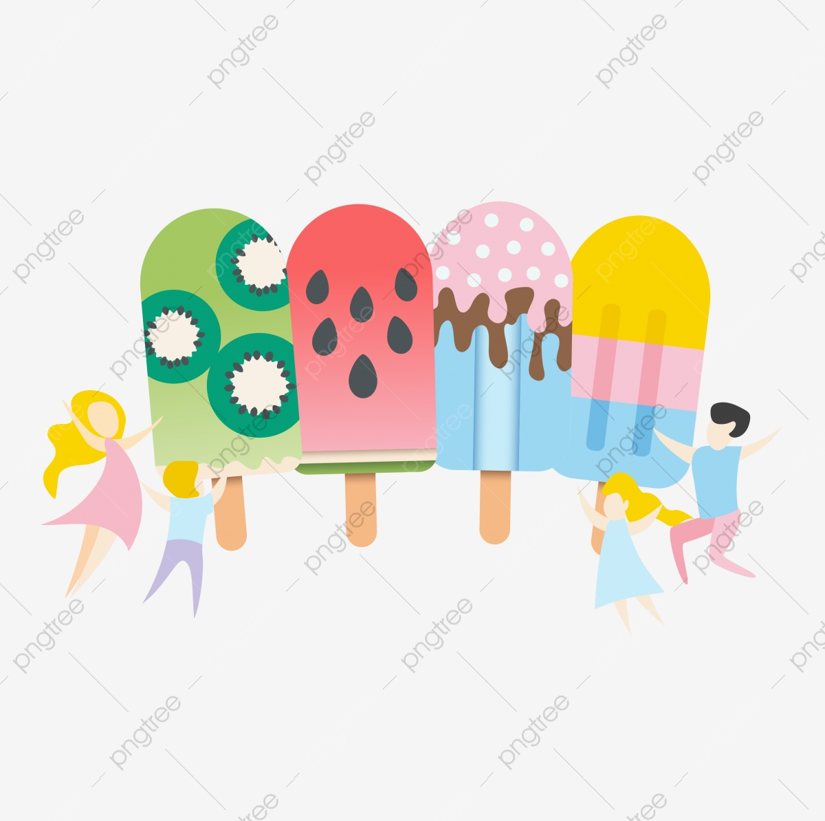 Colorful Summer Cartoon Ice Cream, Summer Clipart, Cartoon Clipart.