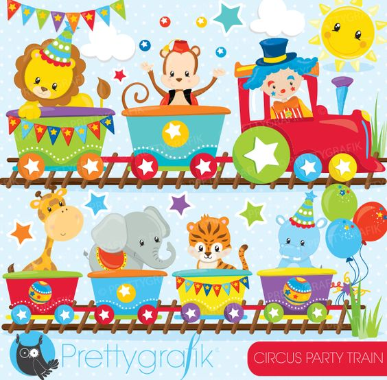 Circus party train Clipart: Have fun creating with these beautiful.