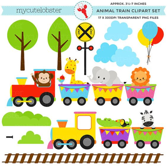 Animal Train Clipart Set.