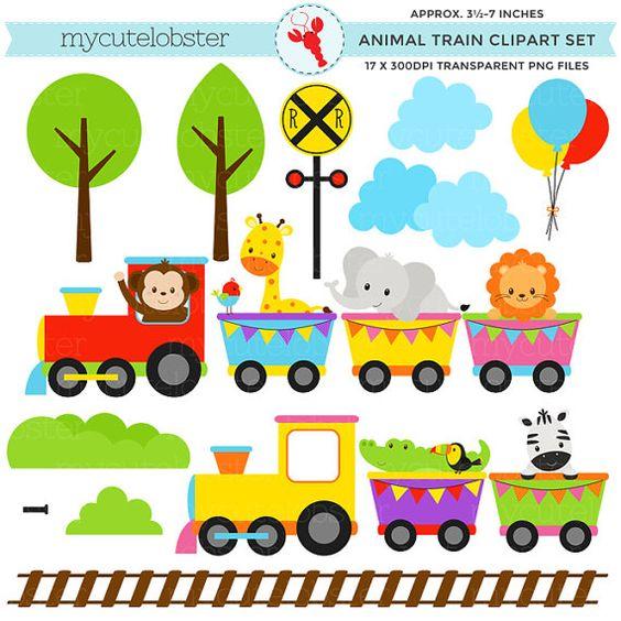 Animal Train Clipart Set.
