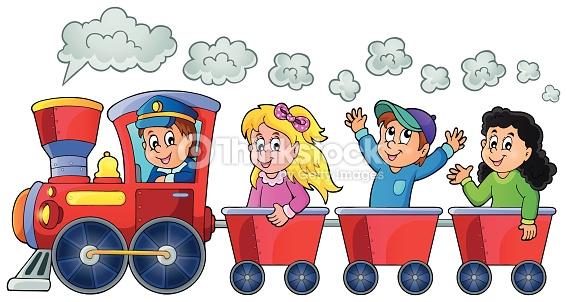 Train With Happy Kids Vector Art.