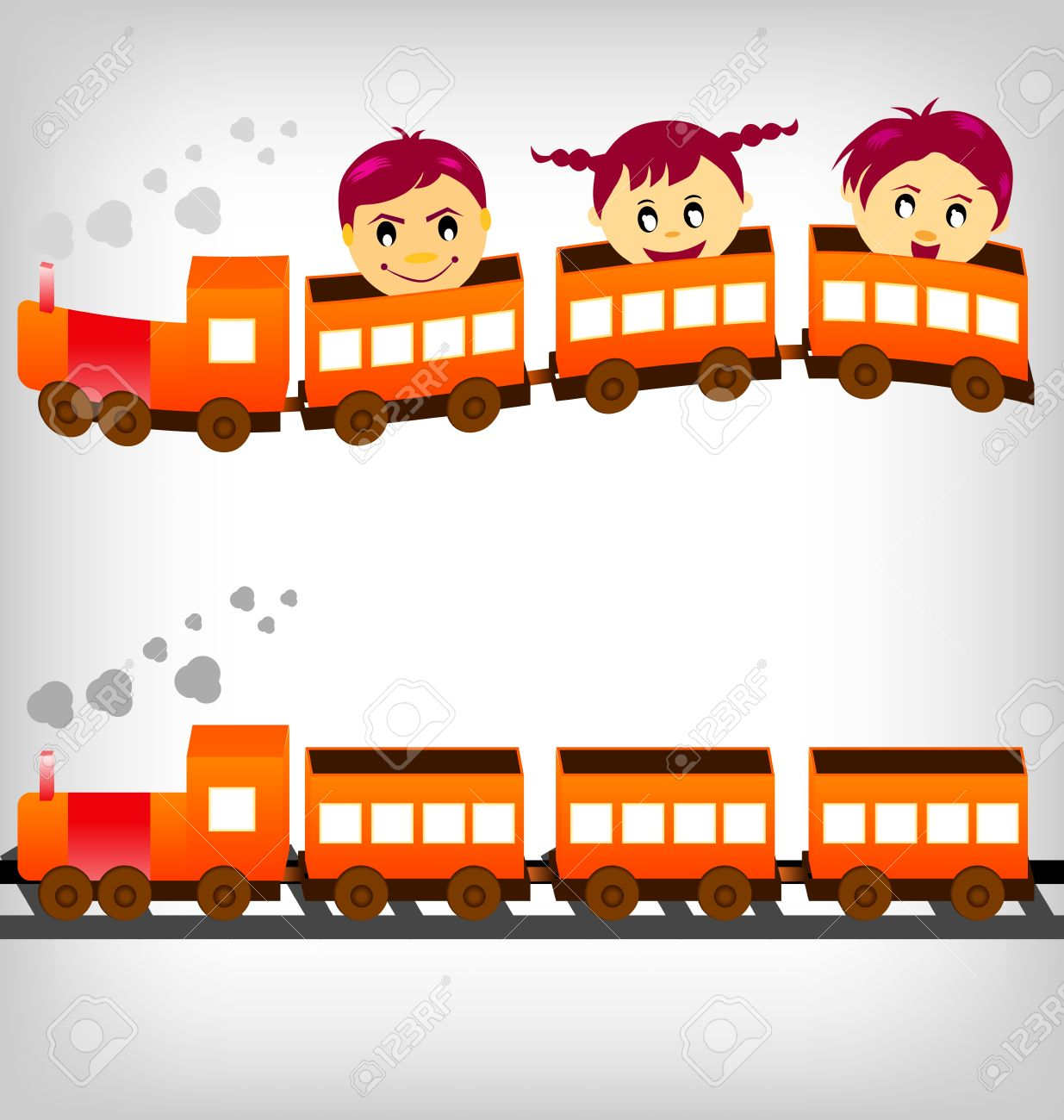 Group Of Children Having Fun Riding In A Train. Royalty Free.