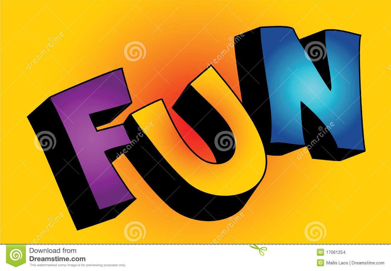 3D fun word stock vector. Illustration of purple, colorful.