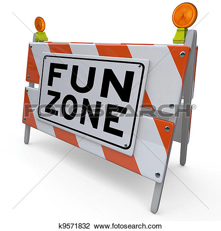 Stock Photo of Fun Zone Barricade Construction Sign Kids.