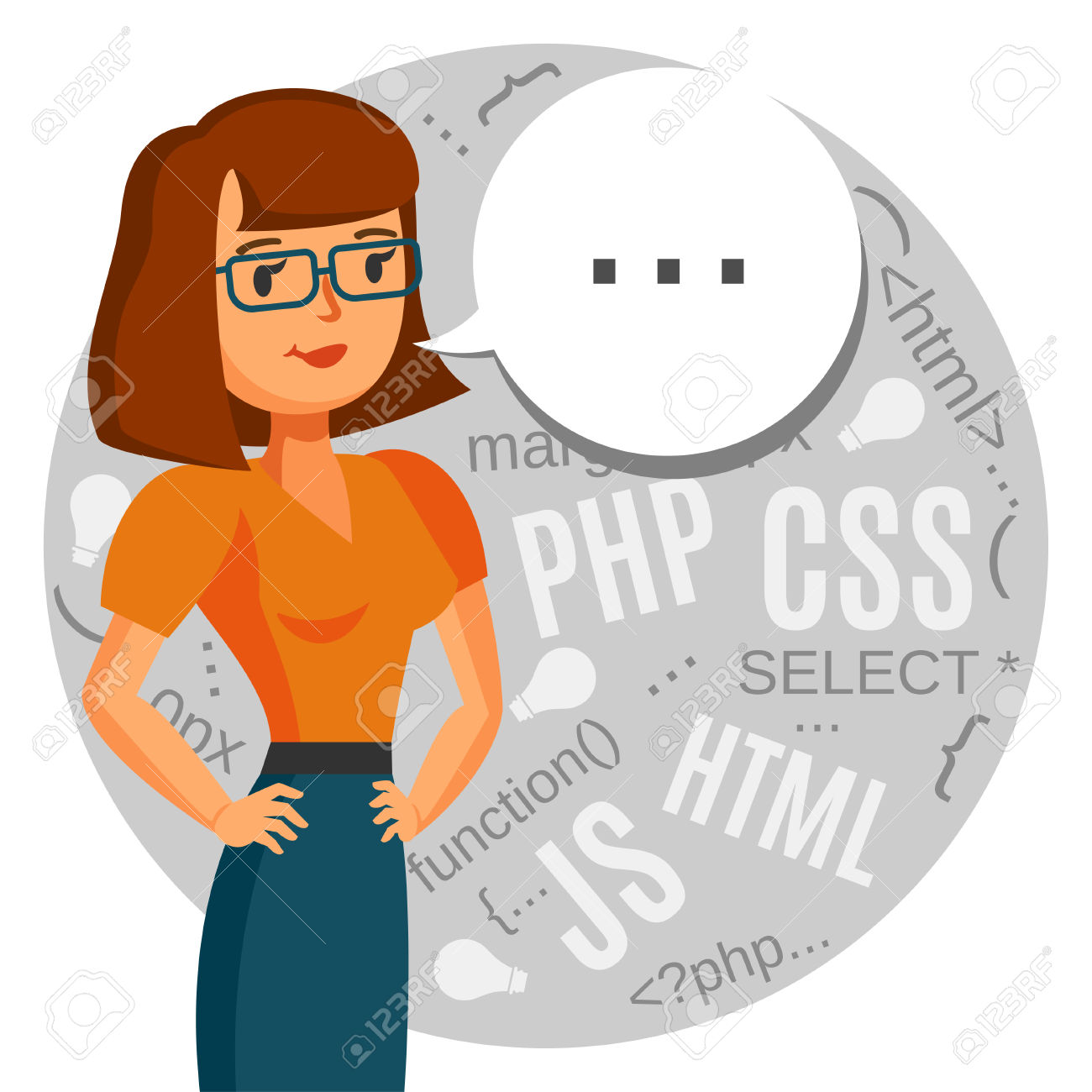 Female Geek At Computer Clipart.