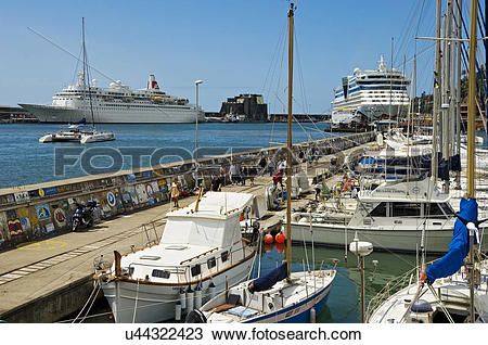 Stock Photo of Portugal, Madeira, Funchal. Boats and cruise ships.