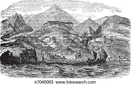 Clipart of Funchal in Madeira, Portugal vintage engraving k7040003.