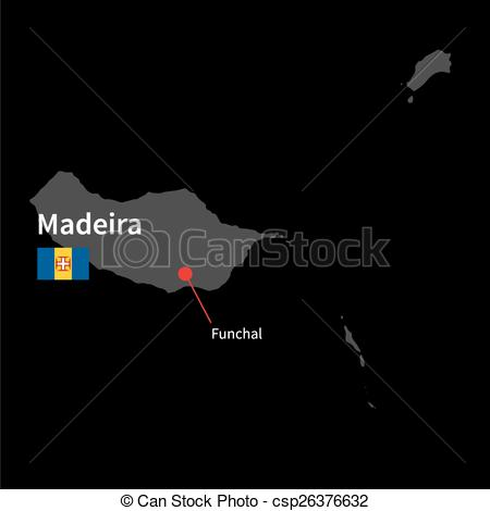 Vectors of Detailed map of Madeira and capital city Funchal with.