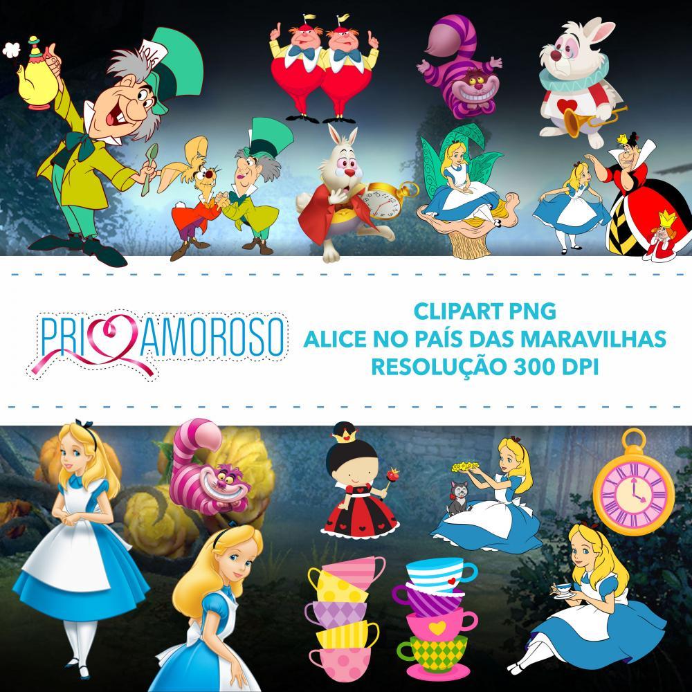 Kit imagem PNG alta definição Alice no País das Maravilhas.