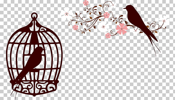 Birdcage , fundo floral PNG clipart.