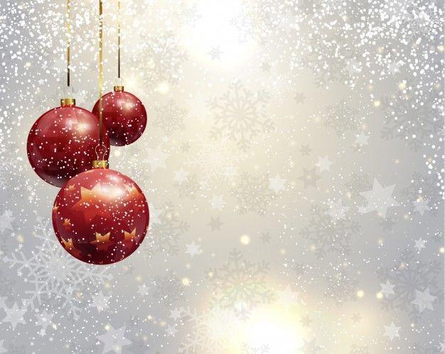 Baixe Fundo De Prata Do Natal Com Bolas Vermelhas.