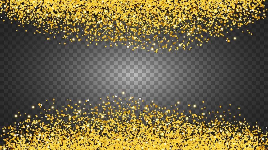 Círculo de glitter dourado com pequenas partículas. fundo.