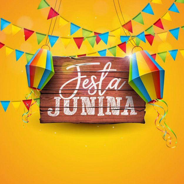 Ilustração De Festa Junina Com Bandeiras Do Partido E.
