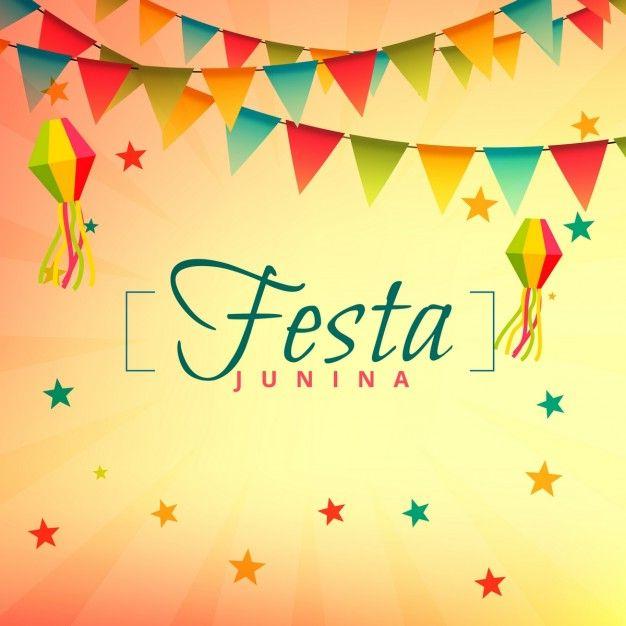 Cheerful festa junina background Free Vector.
