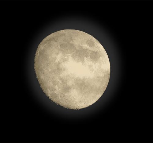 Moon no fundo preto vetor clip.
