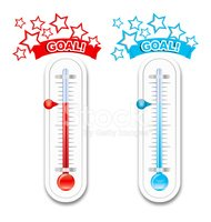 Fundraiser Goal Thermometers stock vectors.