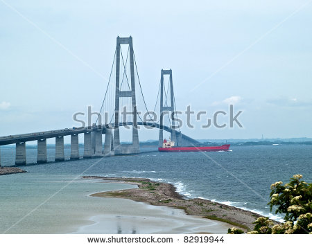 Suspension Bridge Great Belt Denmark Connecting Stock Photo.