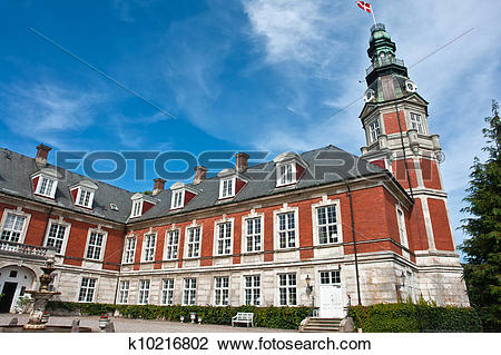 Stock Photo of Hvedholm castle slot Funen Denmark k10216802.