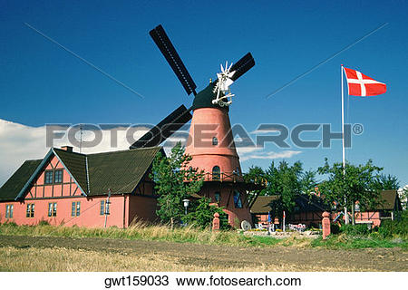 Stock Photo of Restaurant near a windmill, Funen County, Denmark.