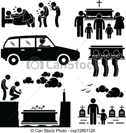 Vector Illustration of Funeral Burial Ceremony Pictogram.