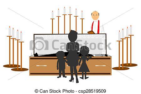 Stock Illustration of funeral of family memeber.