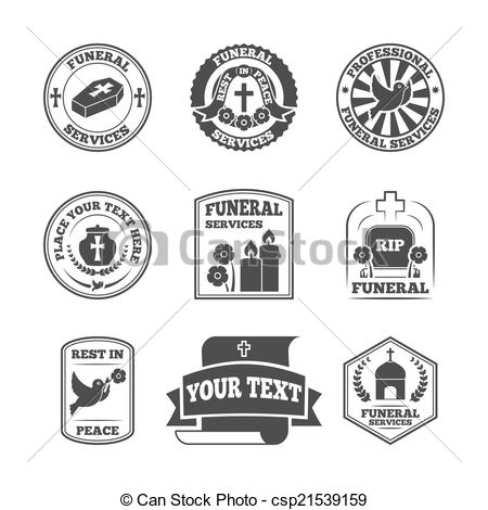 Clipart Vector of Funeral labels icons set.