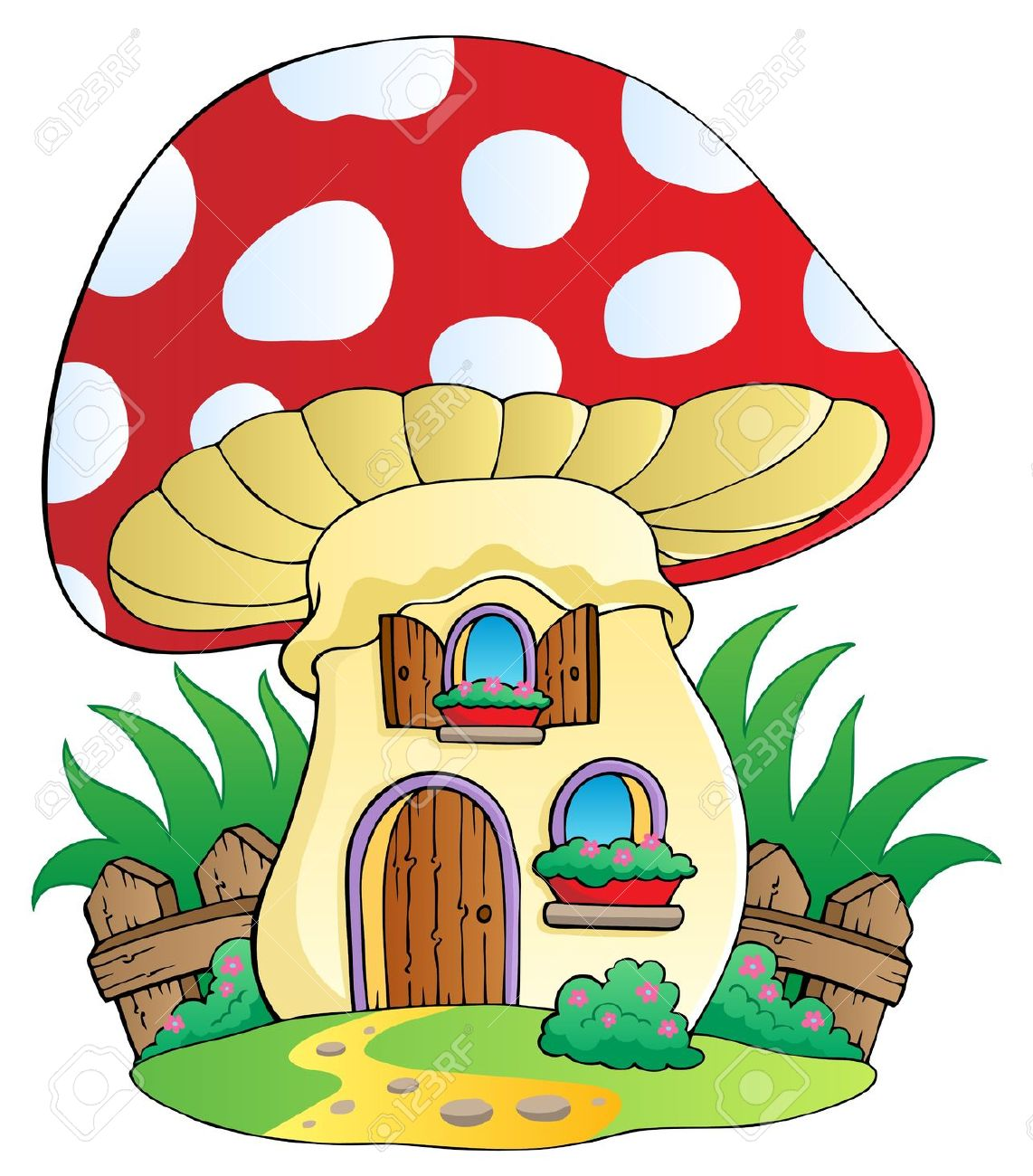 Funghi Casa Cartoon.