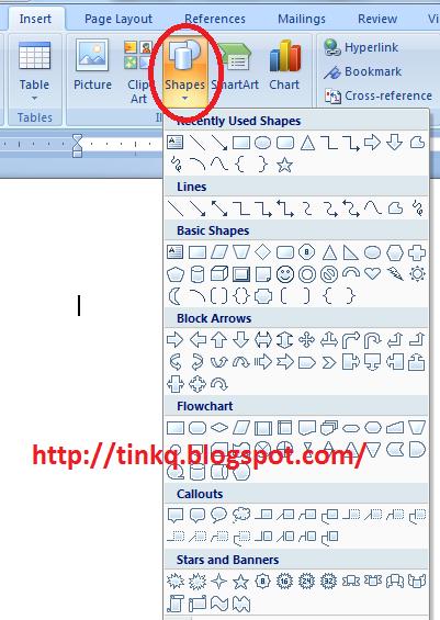 Fungsi Picture, Clip art, Shapes pada Microsoft Word.