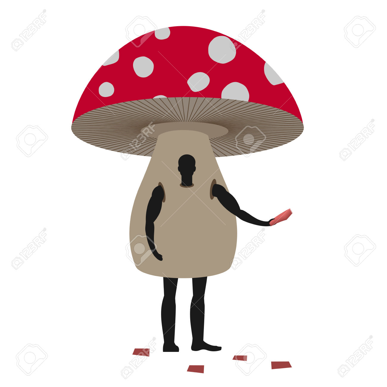 Mushroom Man Mascot Promoter. Male In Suit Amanita Distributes.