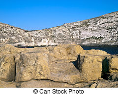 Pictures of Fungus Rock, on the coast of Gozo, Malta.