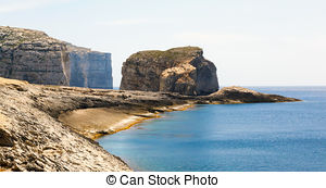 Stock Photos of Panorama view to Dwejra bay and Fungus rock, Gozo.