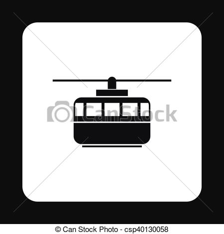 Clipart Vector of Funicular icon, simple style.