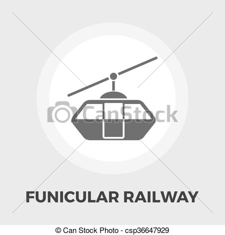 Vector Illustration of Funicular railway flat icon.