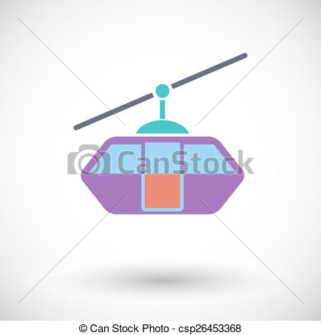 Clip Art Vector of Funicular railway. Single flat icon on white.
