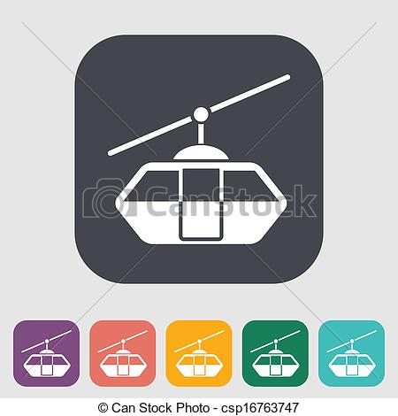 EPS Vector of Funicular railway. Single flat icon on the button.