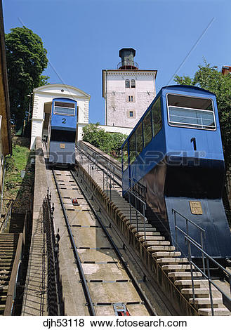 Pictures of Croatia, Zagreb, Gradec, Funicular Railway, Lotrscak.