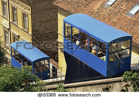 Stock Photograph of Croatia, Zagreb, Gradec, Funicular Railway.