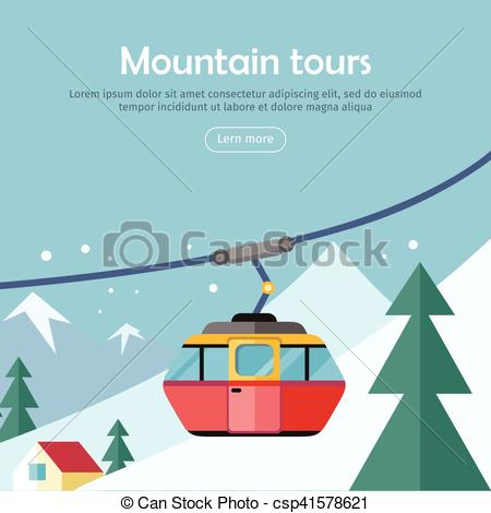 Vector Illustration of Mountain Tours Concept Banner. Funicular.