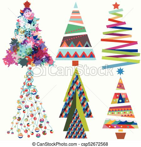 Set of vector cute funky Christmas trees.