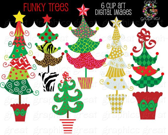 Christmas Tree Clipart Christmas Clip Art Digital Christmas Funky.