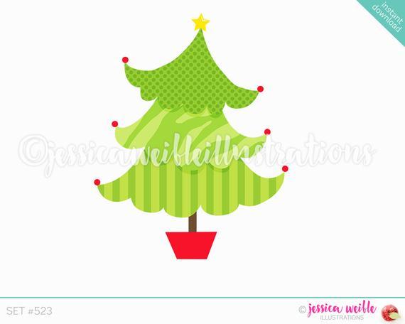 Instant Download Funky Pattern Christmas Tree Clip Art, Cute Digital.