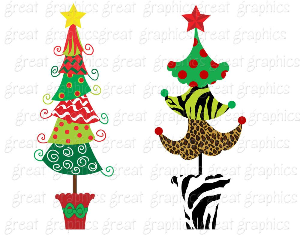 Christmas Tree Clipart Christmas Clip Art Digital Christmas Funky Christmas  Tree Clip Art Printable Christmas Tree.