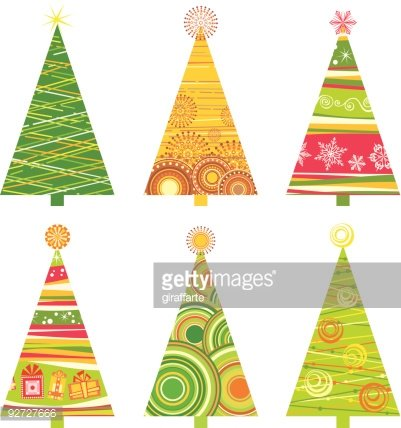 Funky Christmas trees set Clipart Image.
