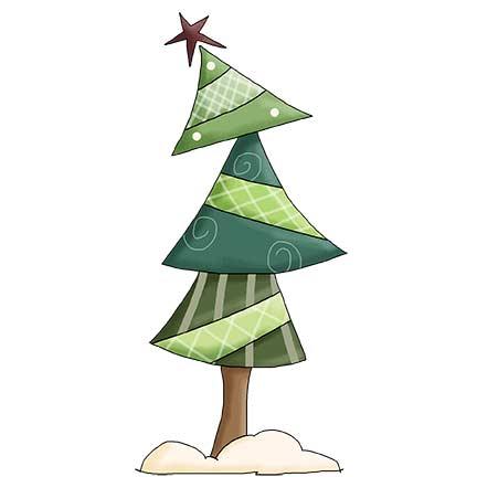 Funky Christmas Tree DIGITAL Stamp.