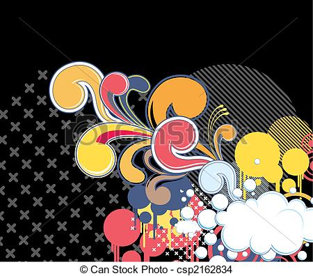 EPS Vector of funky background with cloud, individual objects very.